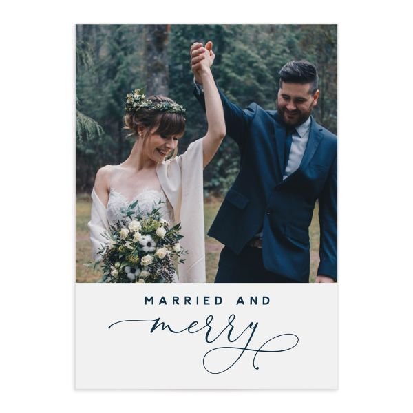 married and merry newlywed holiday cards