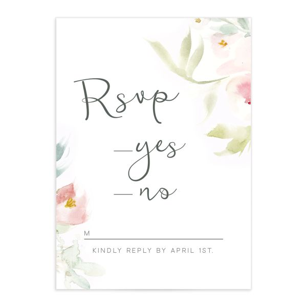 romantic watercolor response card