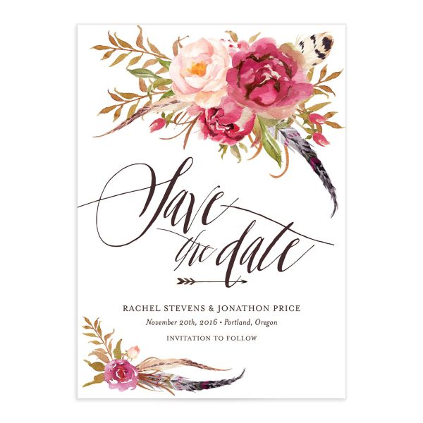 Bohemian floral save the date in pink