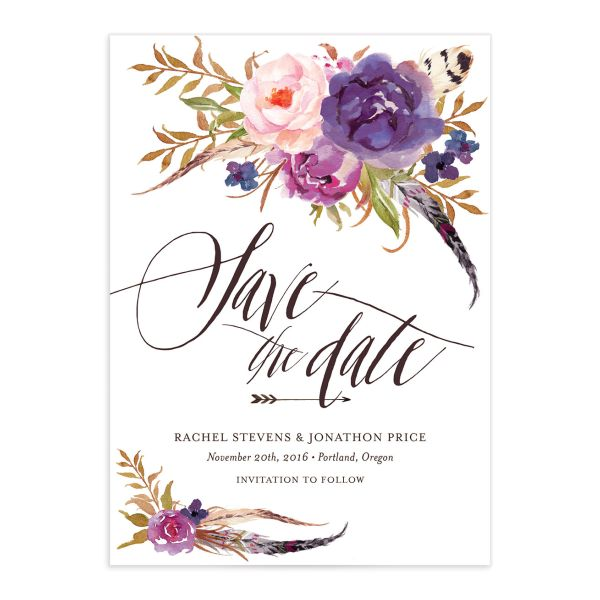 bohemian floral save the date in purple