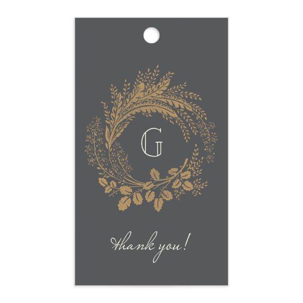 Woodsy Wreath gift tag front gray
