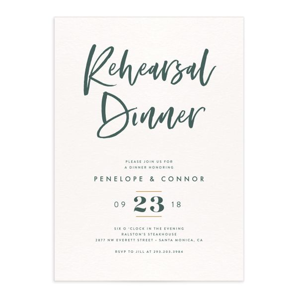 Modern Luxe rehearsal dinner invitation