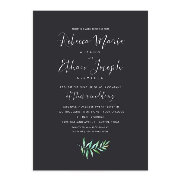Calligraphic Botanical wedding invitation gray