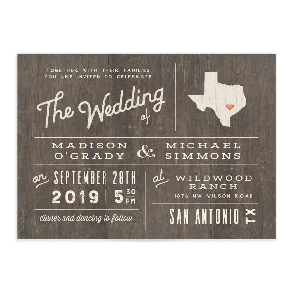 Custom State wedding invitation front