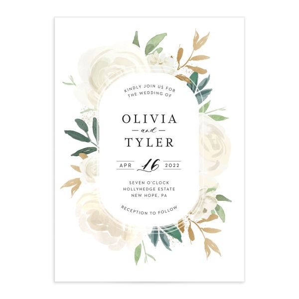 Floral Bouquet wedding invitation cream
