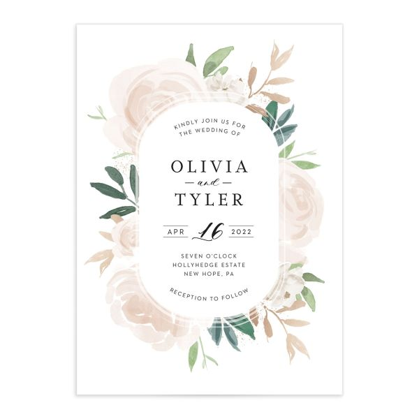 Floral Bouquet wedding invitation pink