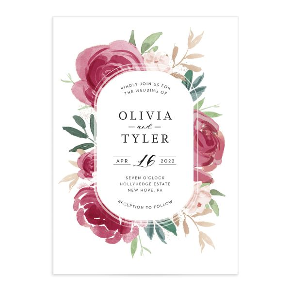 Floral Bouquet wedding invitation burgundy