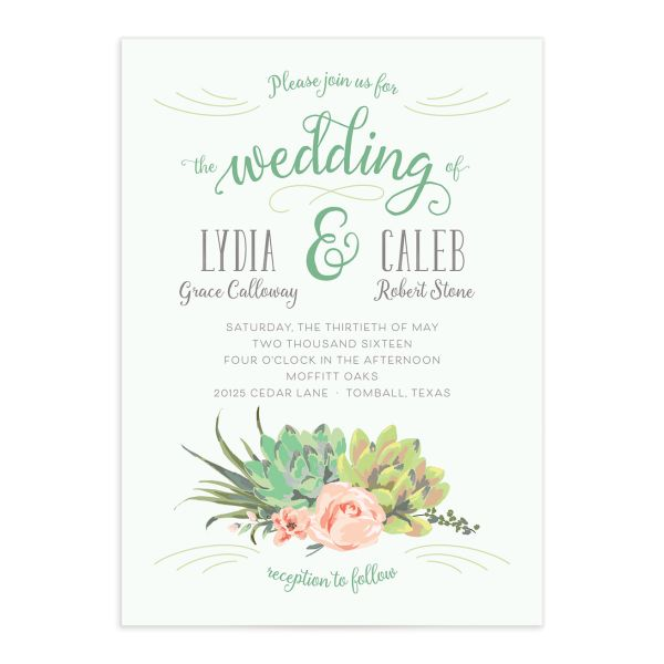 Romantic Succulents invitation green