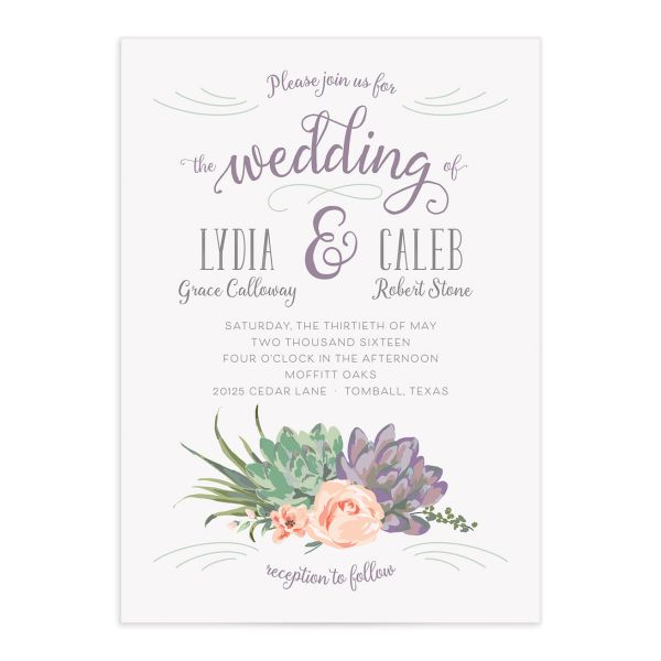 Romantic Succulents invitation purp