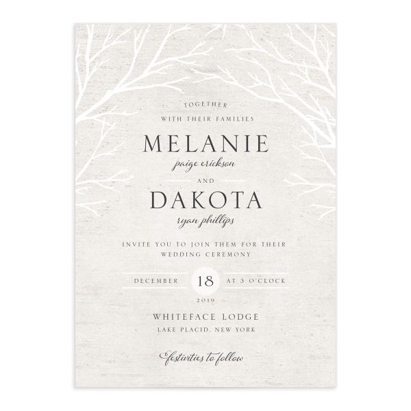 Rustic Birch wedding invitation front
