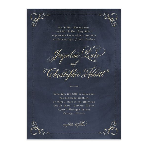 vintage luxe wedding invitations in b lue