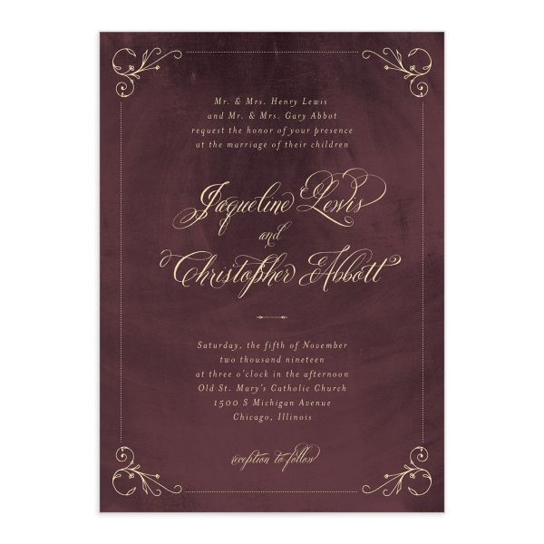 vintage luxe wedding invitation in burgundy