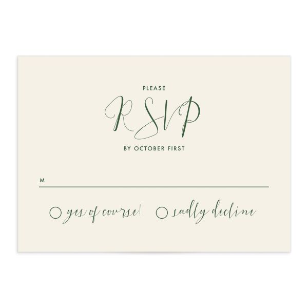 Calligraphic Botanical wedding RSVP card front cream