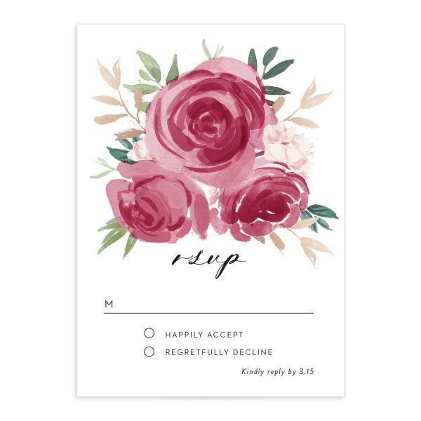 floral bouquet wedding rsvp cards in burgundy