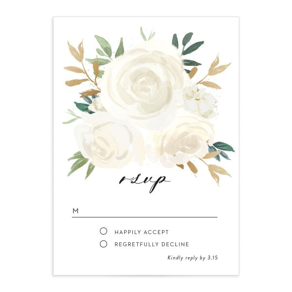 floral bouquet rsvp cards in white