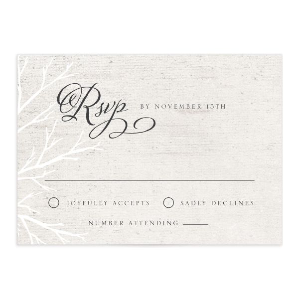 Rustic Birch wedding rsvp card front