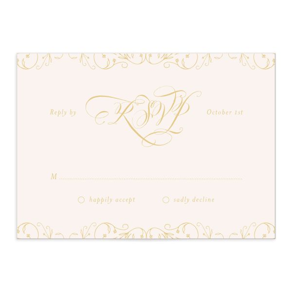 vintage luxe wedding rsvp cards