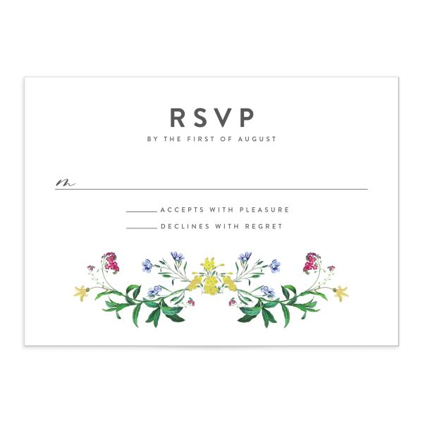 enchanted wildflower rsvp cards in green
