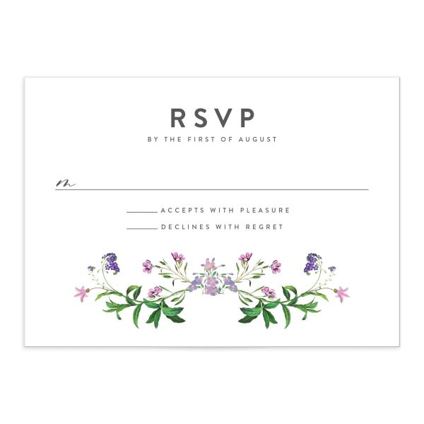enchanted wildflower response cards in purple