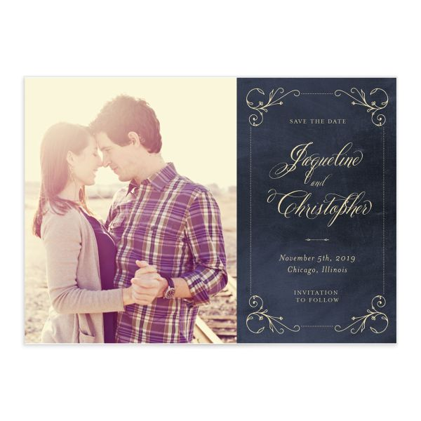 vintage luxe wedding save the date cards with photo