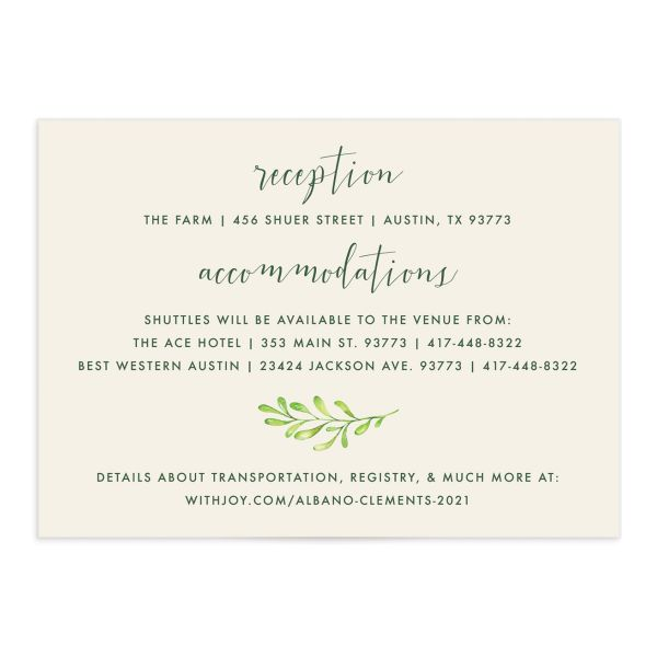 Calligraphic Botanical enclosure card cream front