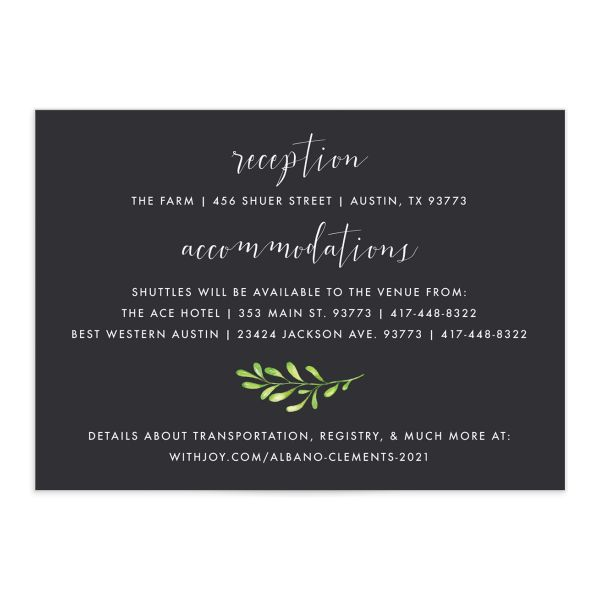 Calligraphic Botanical wedding enclosure card front gray