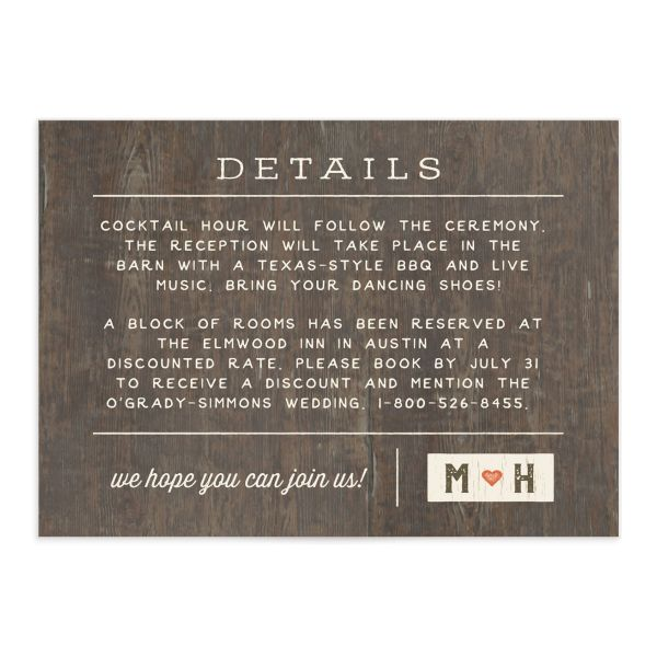 Custom State wedding enclosure card front