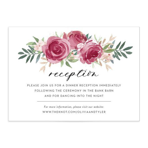floral bouquet enclosure cards in burgundy