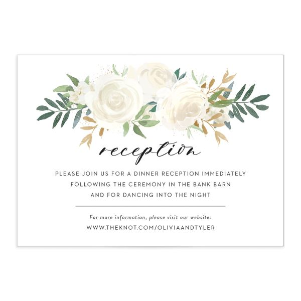 floral bouquet wedding enclosure cards in white