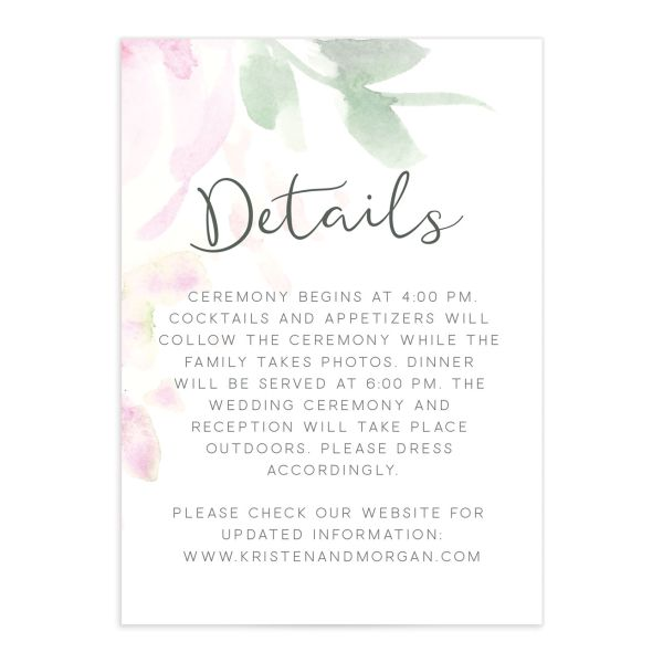 Romantic Watercolor enclosure card front