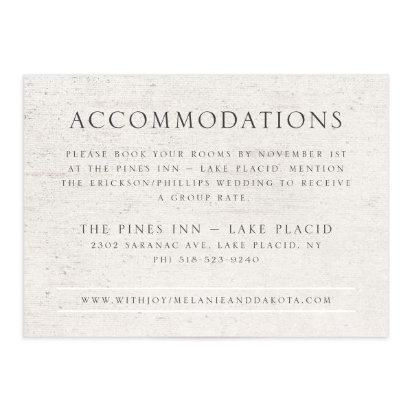 Rustic Birch wedding enclosure card front