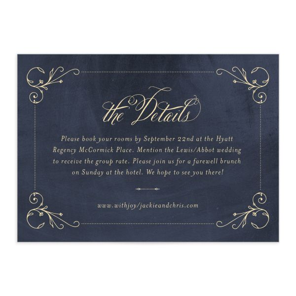 vintage luxe wedding enclosure card