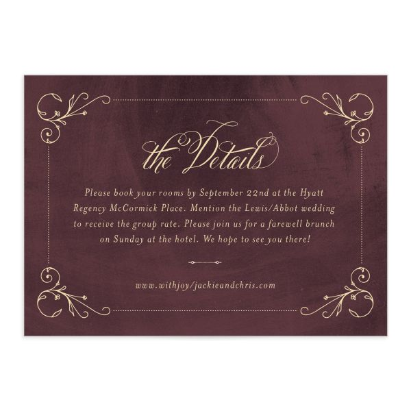 vintage luxe wedding details card
