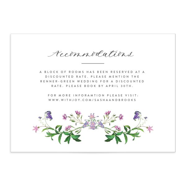 enchanted watercolor wedding enclosure card in purple