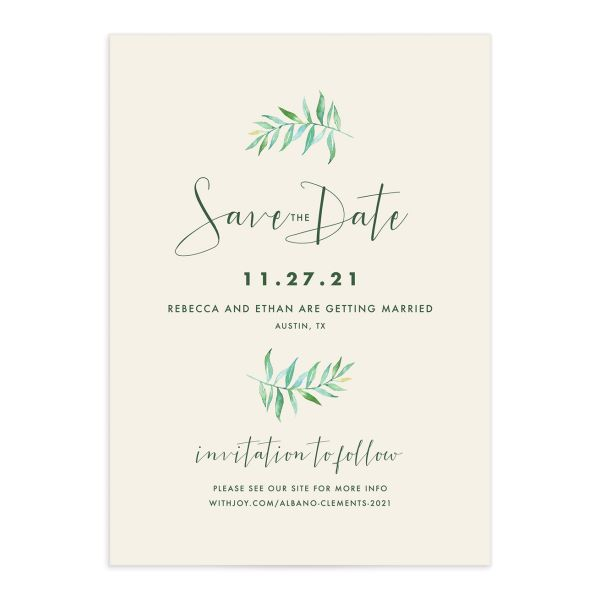 Calligraphic Botanical save the date cream front