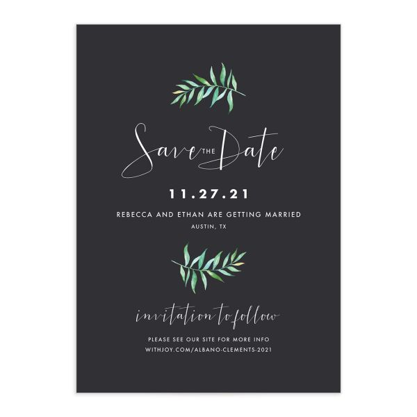Calligraphic Botanical save the date gray