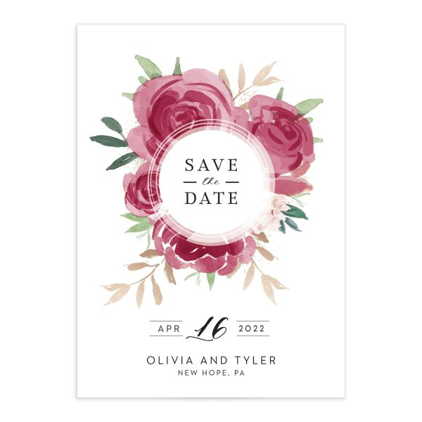 Floral Bouquet wedding save the date burgundy