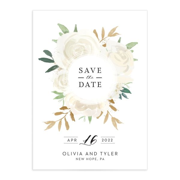 Floral Bouquet wedding save the date white