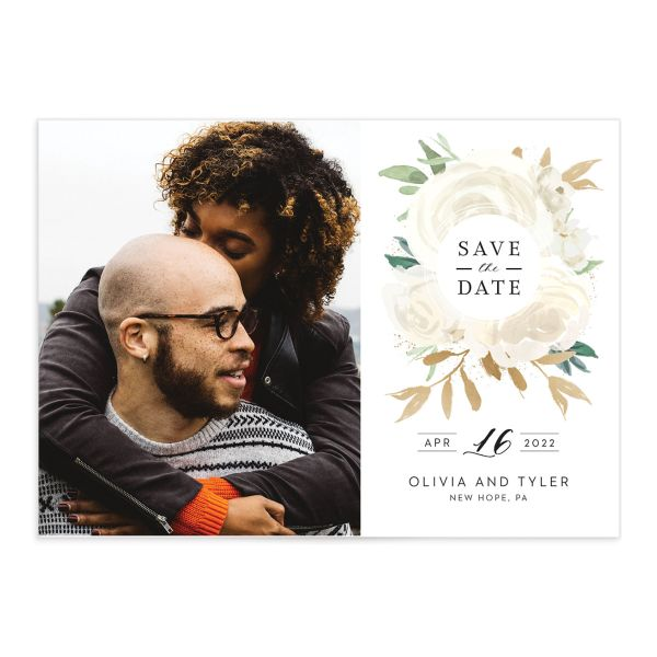 Floral Bouquet Photo Save the date cream