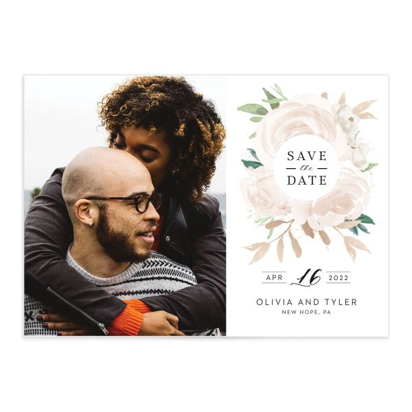 Floral Bouquet Photo Save the date pink