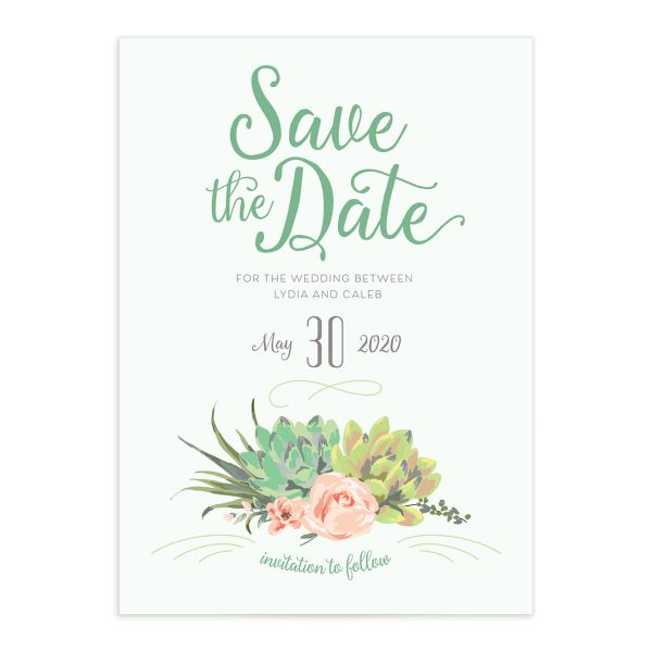 Romantic Succulents save the date green