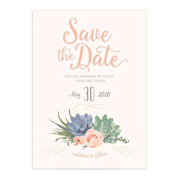 Romantic Succulents save the date pnk