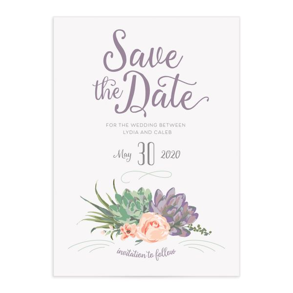 Romantic Succulents save the date purp