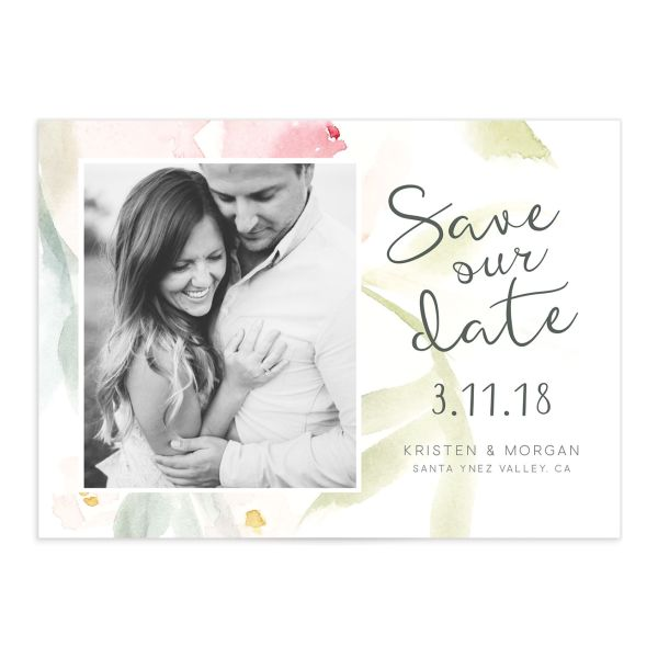 Romantic Watercolor save the date front