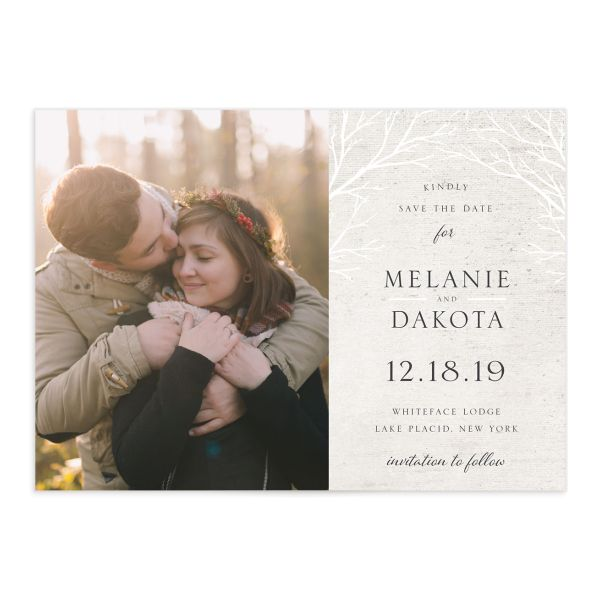 Rustic Birch wedding save the date front