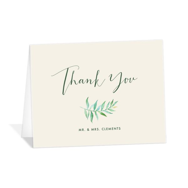Calligraphic Botanical thank you card cream
