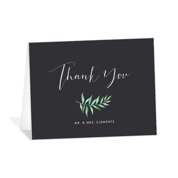 Calligraphic Botanical thank you card back