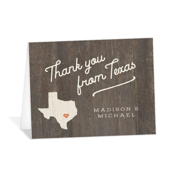 Custom State wedding thank you card