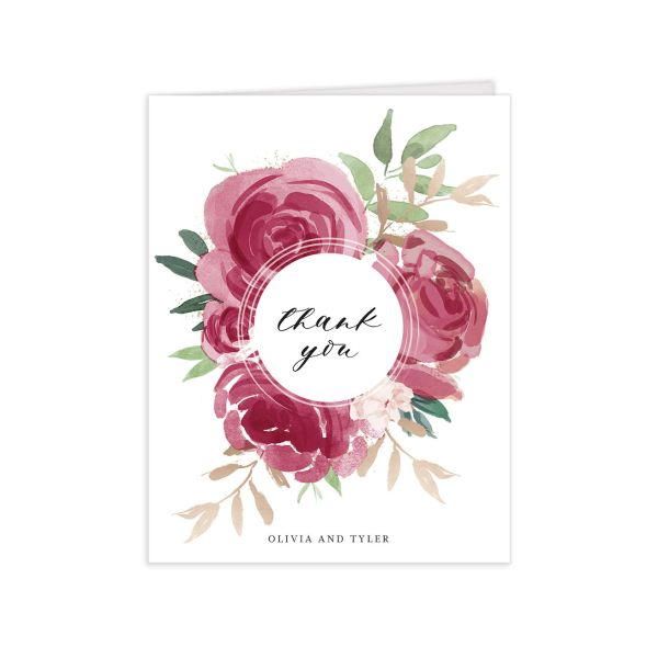 floral bouquet thank you cards in burgundy