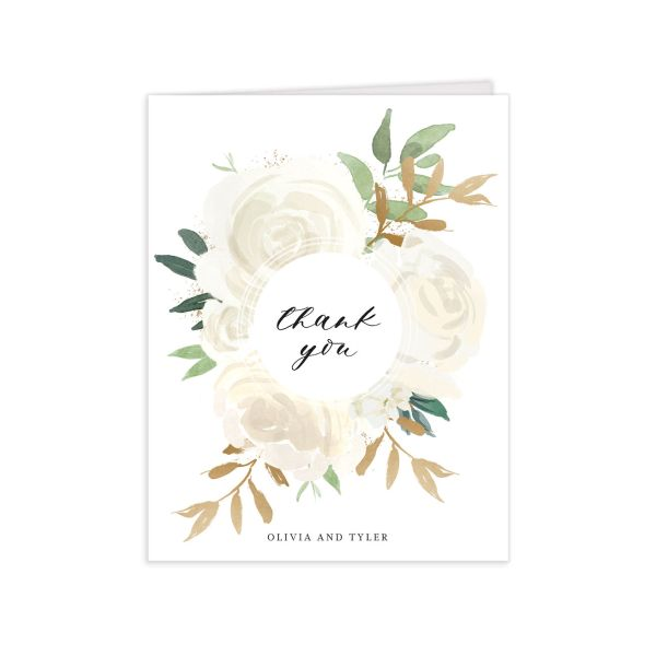 floral bouquet thank you cards in white